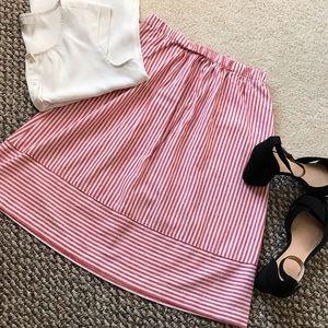 J. Crew XS striped cotton-linen midi skirt